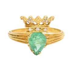 Antique Victorian Emerald Diamond Crowned Heart Ring