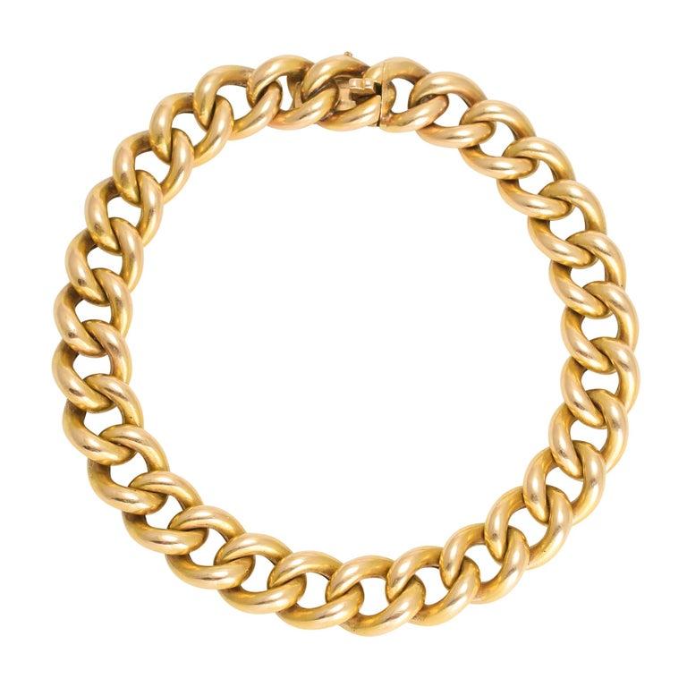 Antique Victorian 15 Karat Gold Curb-Link Bracelet