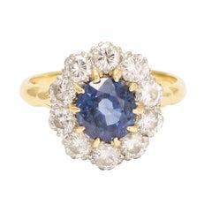 Antique Edwardian Blue Sapphire Diamond Cluster Ring