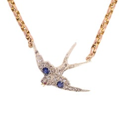"Antique Victorian Sapphire Diamond ""Diving Swallow"" Necklace"