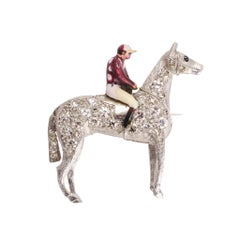 "Antique Edwardian Diamond Platinum ""Horse and Jockey"" Brooch"