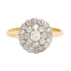 Antique Edwardian Pavé Diamond Round Cluster Ring