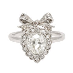 Antique Edwardian Diamond Bowed Heart Ring