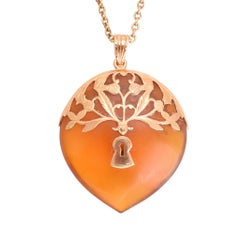"Antique Victorian Tortoise Shell ""Key To My Heart"" Pendant Necklace"