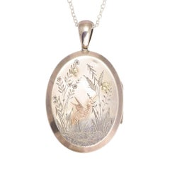 Antique Victorian Aesthetic Movement Silver Oval Locket