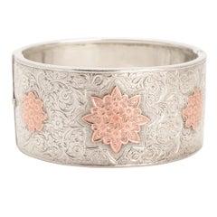 Antique Victorian Silver Rose Gold Cuff Bangle