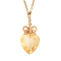 "Antique Victorian Citrine ""Crowned Heart"" Pendant Necklace"