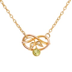 Antique Art Nouveau Peridot Pearl Lover's Knot Necklace