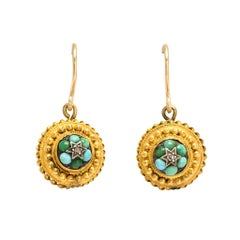 Antique Victorian Etruscan Revival Turquoise Diamond Earrings