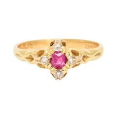 Antique Late Victorian Ruby Diamond Cluster Ring