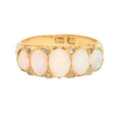 Antique Victorian Opal Diamond Scrolled 5-Stone Ring