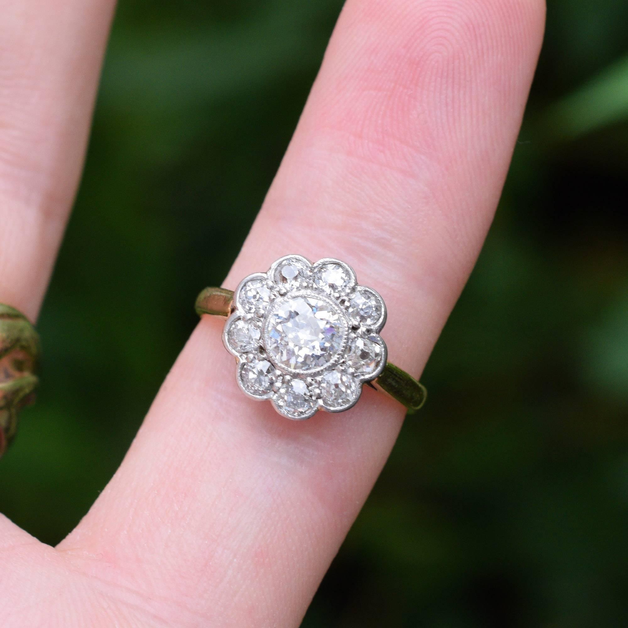 Antique Edwardian 1.75 Carat Diamond Flower Ring at 1stdibs
