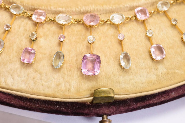 Women's Antique Victorian Imperial Topaz Collar and Pendant Necklace Set For Sale