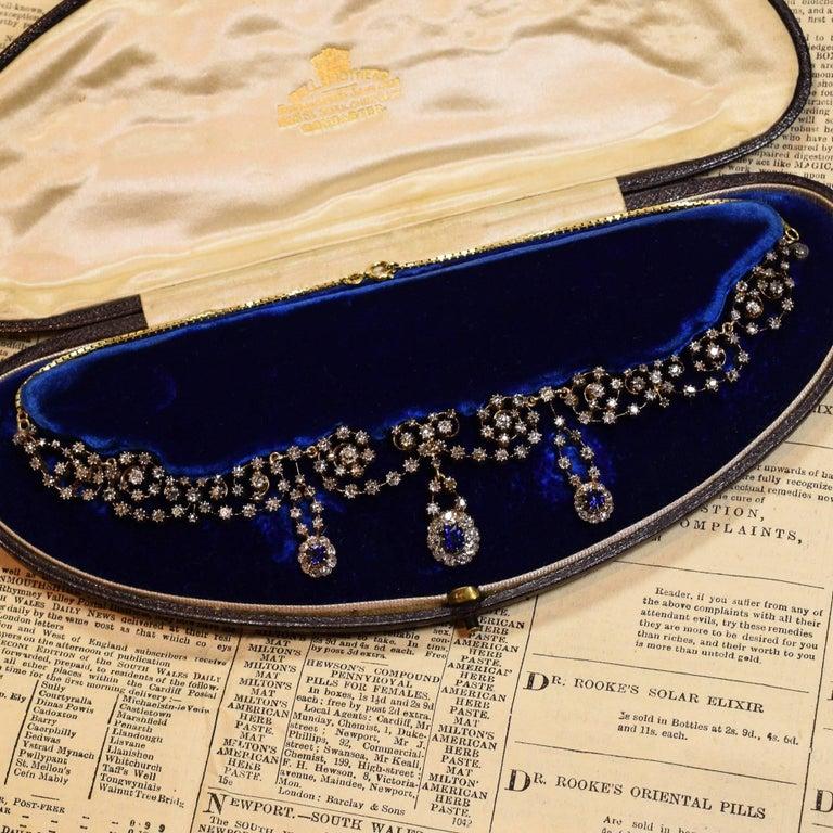 Women's Victorian Sapphire 14.4 Carat Diamond Collar Necklace For Sale