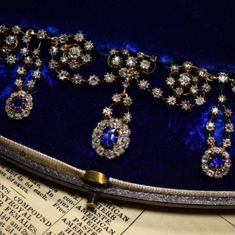 Victorian Sapphire 14.4 Carat Diamond Collar Necklace 2