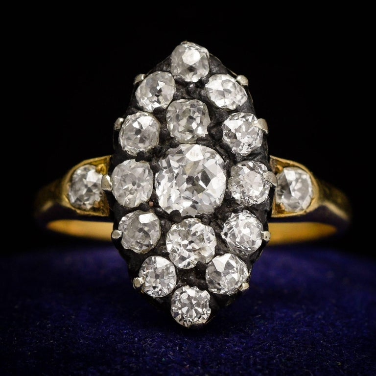 Victorian 2 Carat Old Cut Diamond Marquise Ring For Sale 2