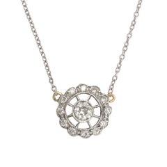 Edwardian Diamond Flower Halo Pendant