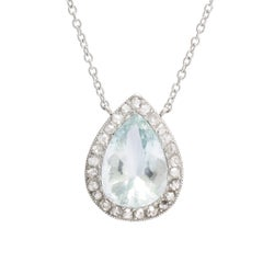 Edwardian Pear Cut Aquamarine and Diamond Millegrain Pendant