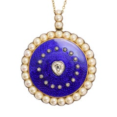 Georgian Diamond Pearl Round Locket
