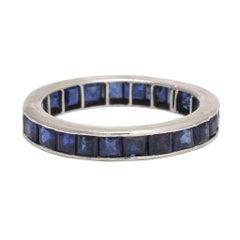 Art Deco Blue Sapphire Eternity Ring