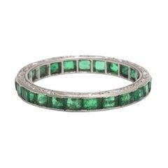 Art Deco Emerald Platinum Eternity Ring