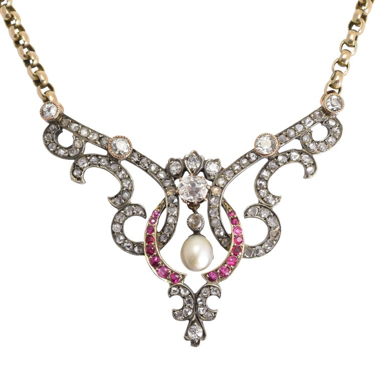 Late Victorian Diamond Ruby Pearl Necklace