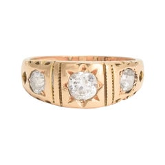 Antique Victorian Cushion Cut Diamond Three-Stone Band