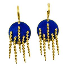1970s Chic Italian Rich Blue Enamel Gold Earrings