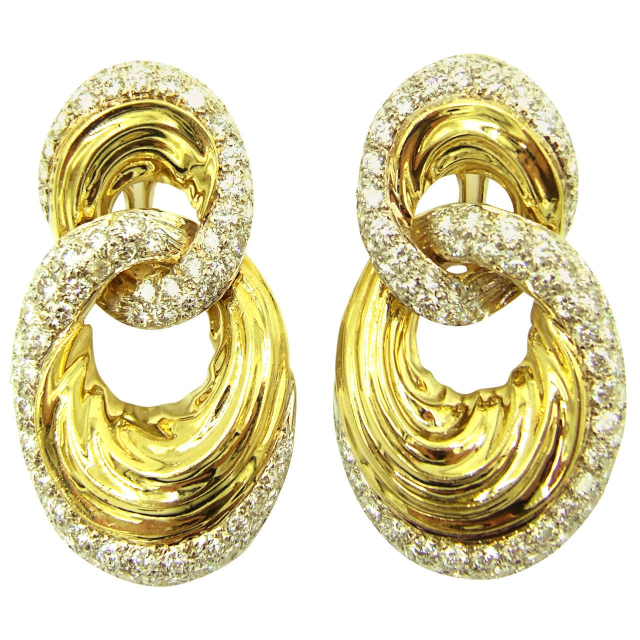 Elegant Diamond Gold Double Hoop Earrings For
