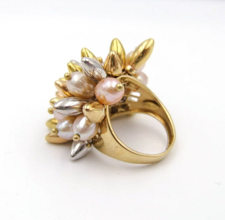 tricolor pearl and gold kinetic dome ring at 1stdibs