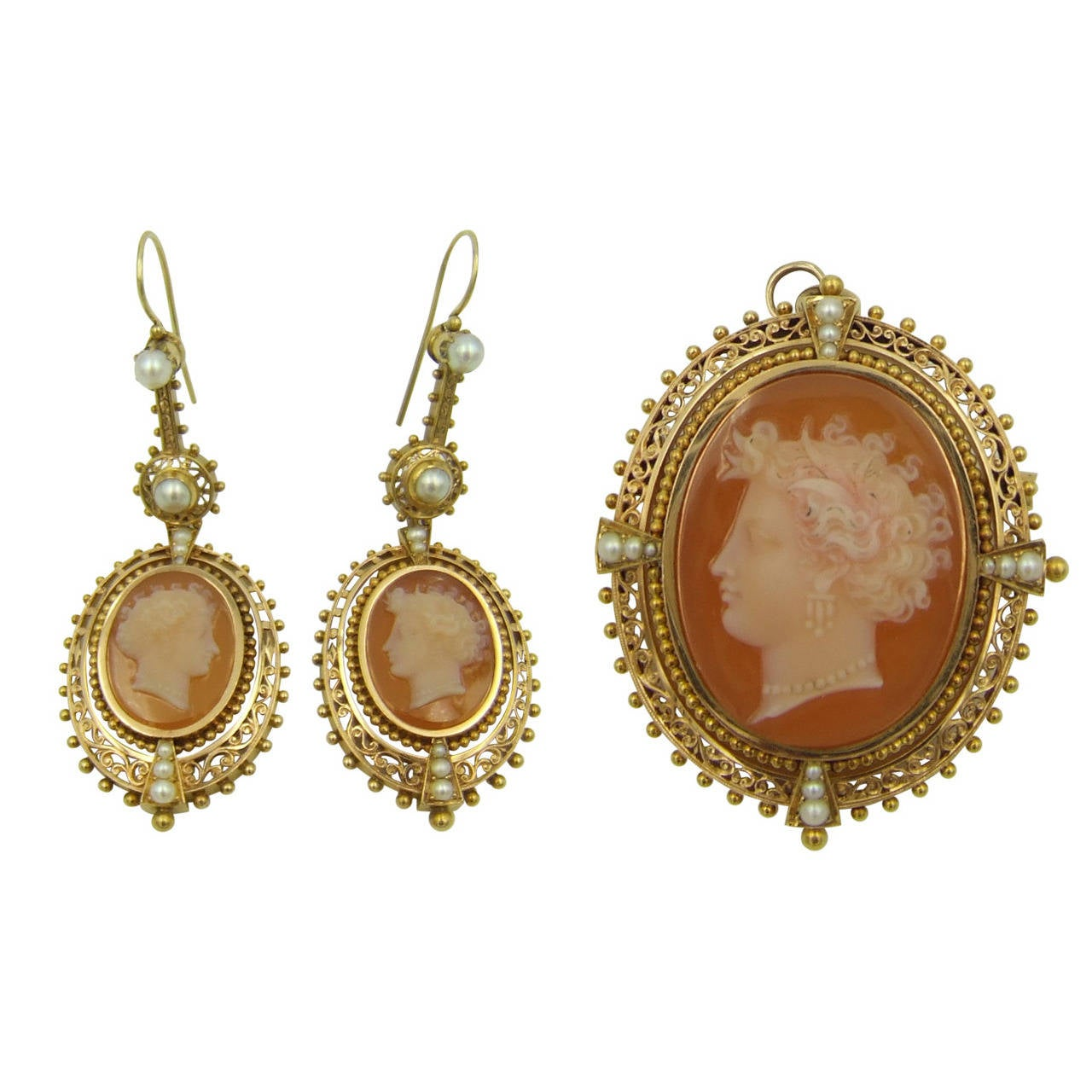 Victorian Hardstone Pearl Gold Cameo Suite