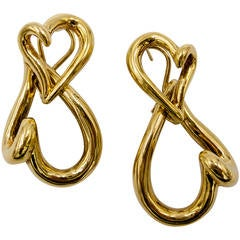 Double Heart Day/Night Gold Earclips