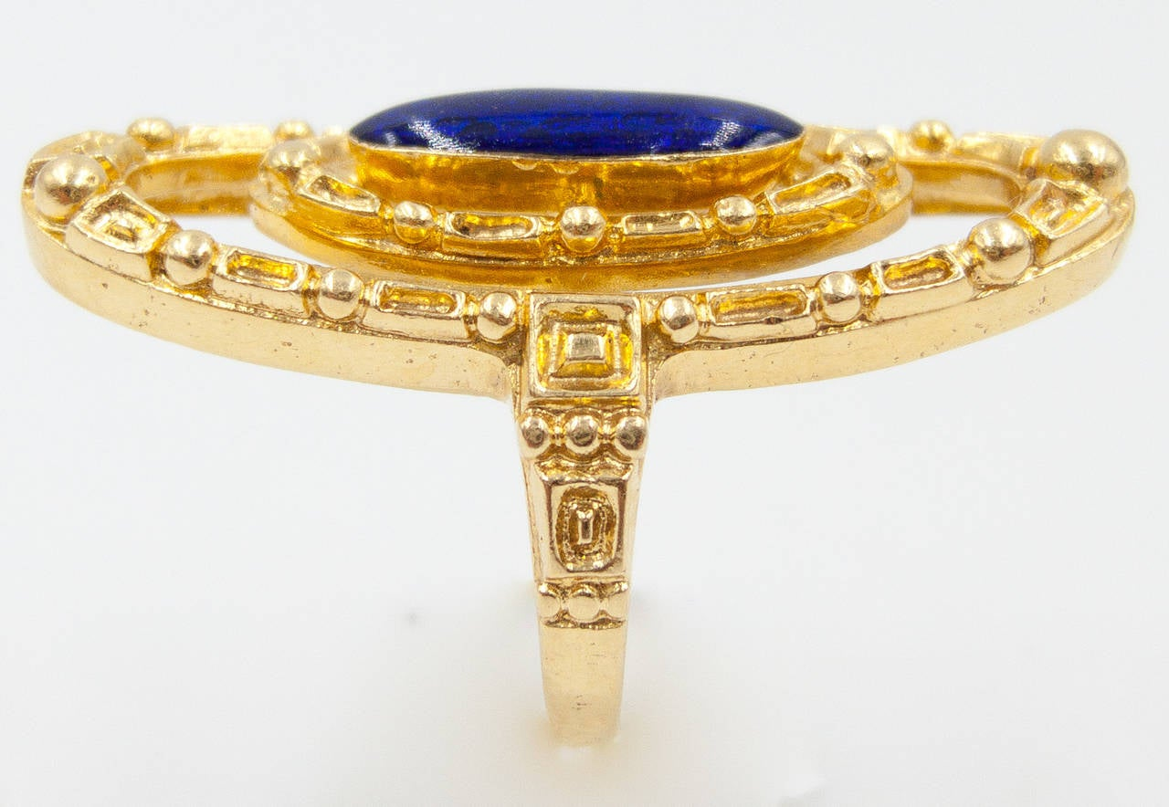 A bold and distinctive ring from the 70's, made in Greece by the venerable firm  Zolotas.   The 1 1/2