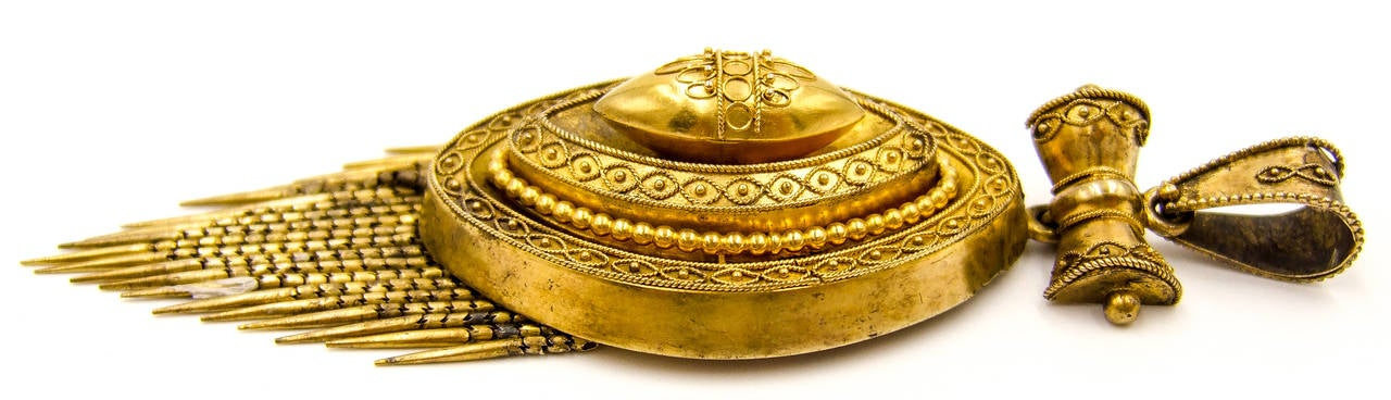 Women's Elegant Victorian Etruscan Revival Gold Fringed Pendant For Sale