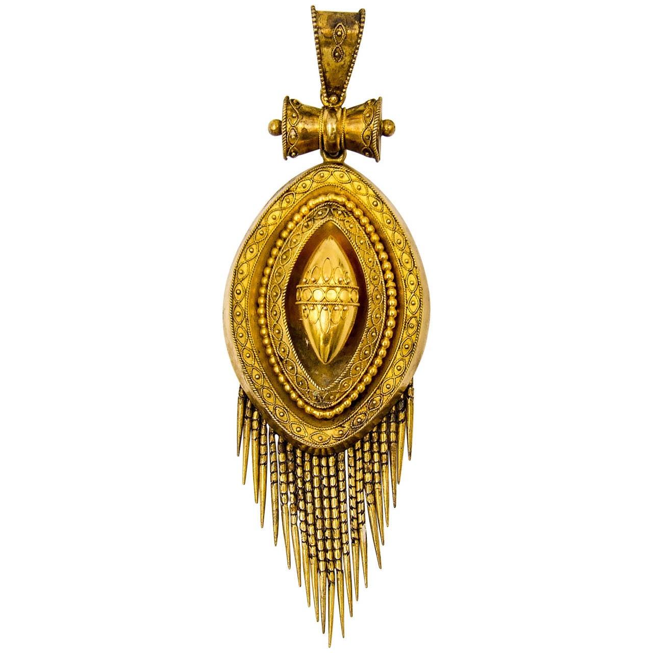 Elegant Victorian Etruscan Revival Gold Fringed Pendant For Sale