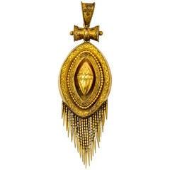 Elegant Victorian Etruscan Revival Gold Fringed Pendant