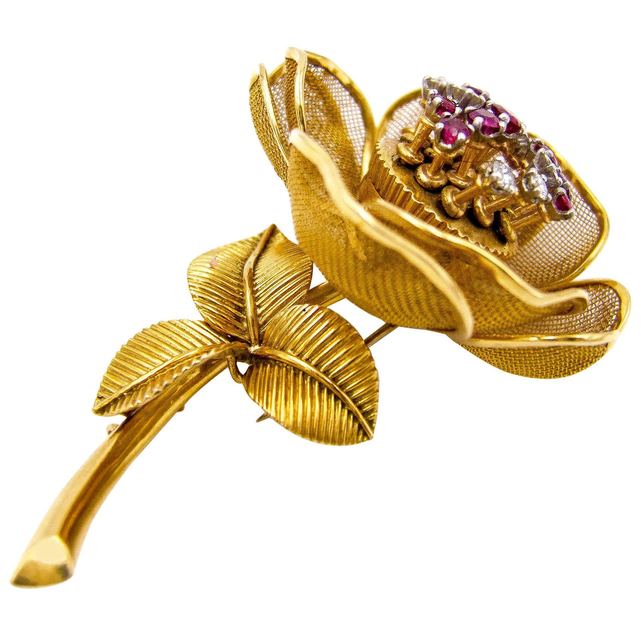 French Ruby Diamond Gold En Tremblant Rose Brooch