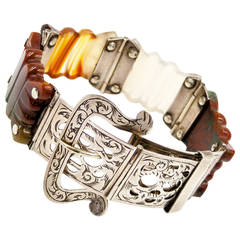 Unique Victorian Silver and Agate Belt Bracelet