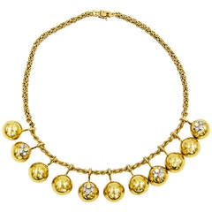 Playful Diamond Gold Vicenza Italy Necklace