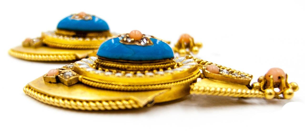 ImpressIve Victorian Enamel Coral Gold Pendant Earrings 2