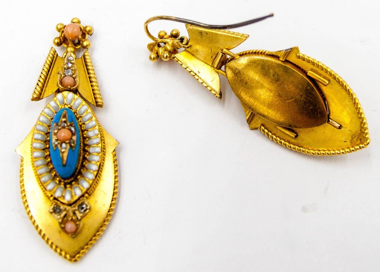 ImpressIve Victorian Enamel Coral Gold Pendant Earrings 3