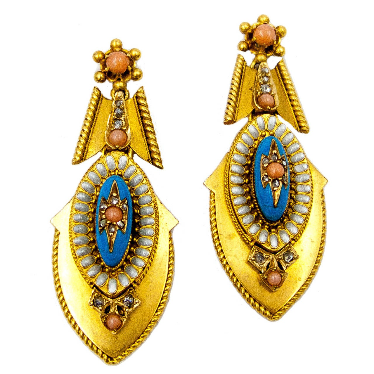 ImpressIve Victorian Enamel Coral Gold Pendant Earrings 1