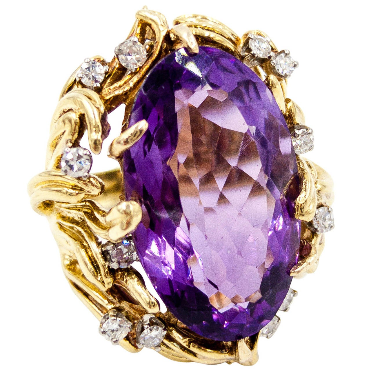 rings white with in amethyst gold yellow diamonds ring purple
