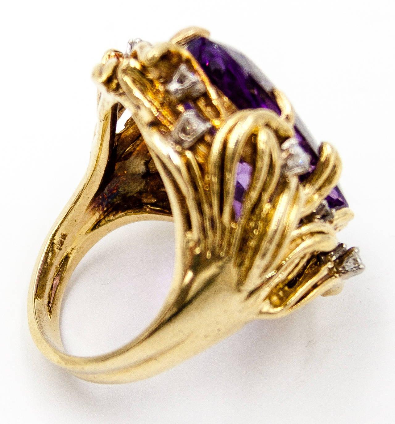 Sparkling 15 Carat Amethyst Diamond Gold Cocktail Ring 2