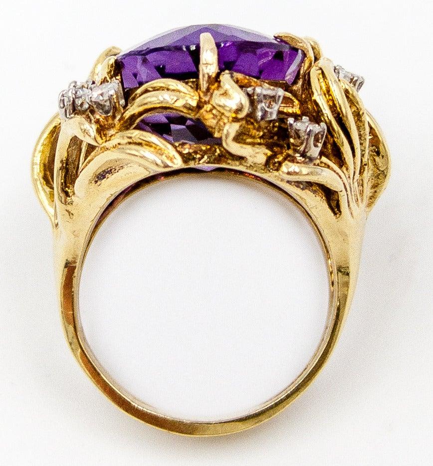 Sparkling 15 Carat Amethyst Diamond Gold Cocktail Ring 3
