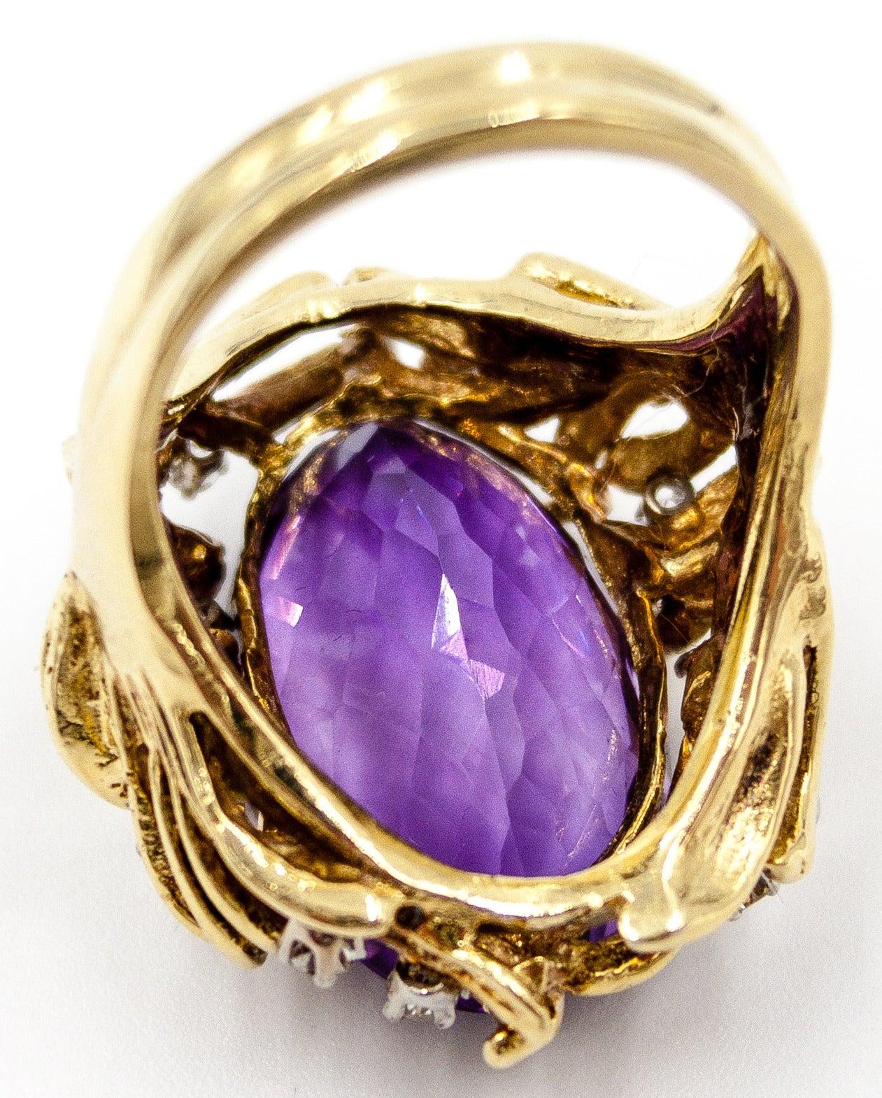 Sparkling 15 Carat Amethyst Diamond Gold Cocktail Ring 4