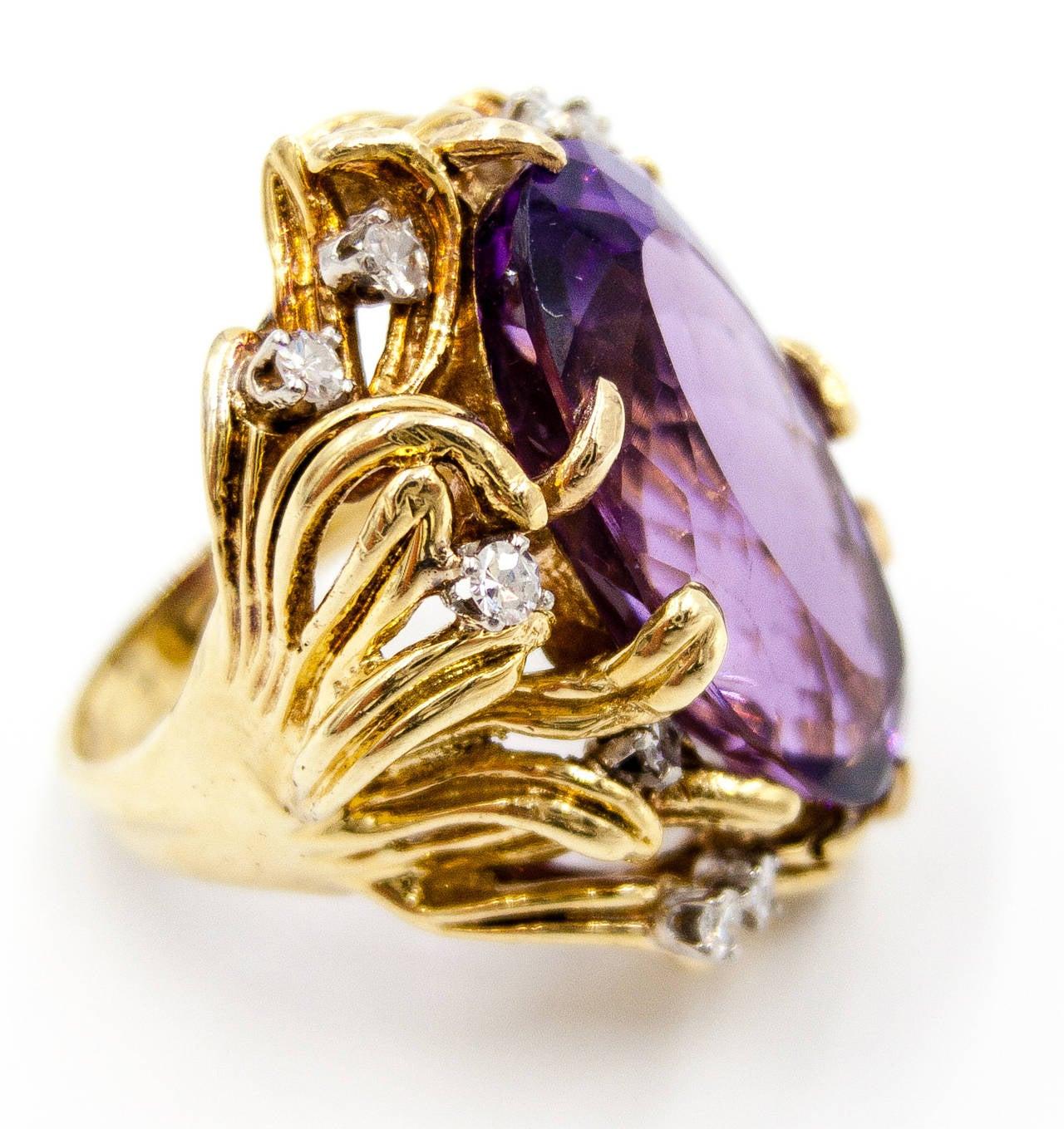 Sparkling 15 Carat Amethyst Diamond Gold Cocktail Ring 5