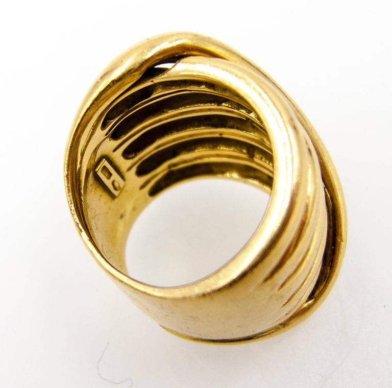 1970s Gucci Italy Gold Coil Ring For Sale 1