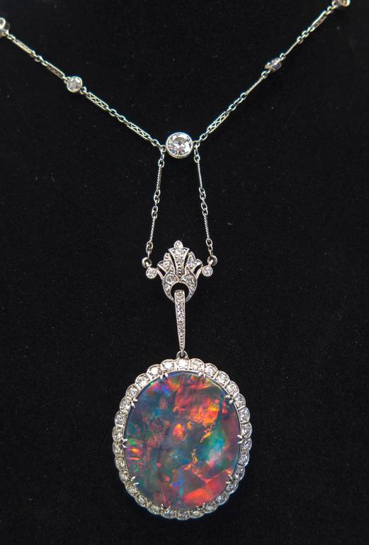 Extraordinary Edwardian Lightning Ridge Black Opal Diamond Necklace 6