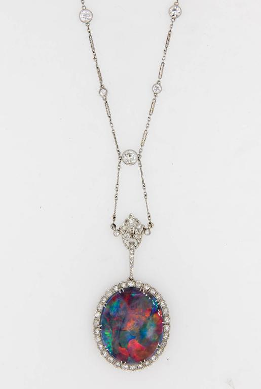 Extraordinary Edwardian Lightning Ridge Black Opal Diamond Necklace 4
